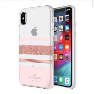kate spade iPhone XS Max Rose Gold Stripe Case